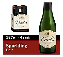 Cooks California Champagne Brut White Sparkling Wine Bottles - 4-187 Ml