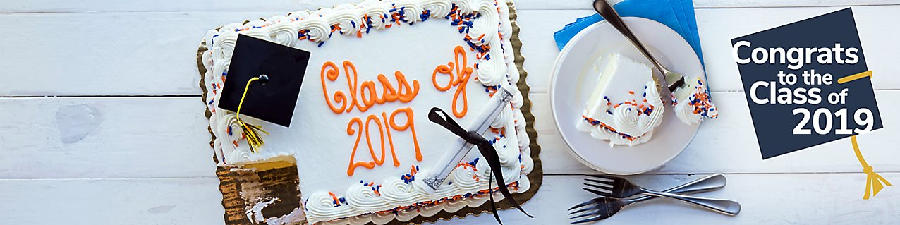 Class of 2019 sheet cake with plates and forks. Congrats to the Class of 2019.