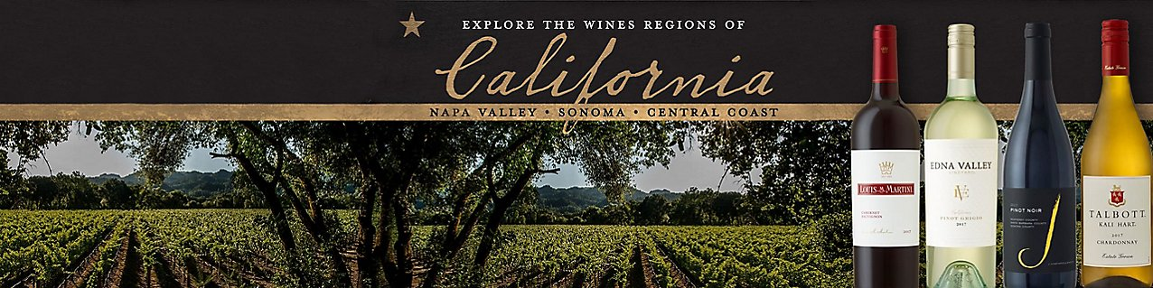 image of a variety of EJ Gallo wines over a picture of a vineyard; text reads Explore The Wines Regions of California.