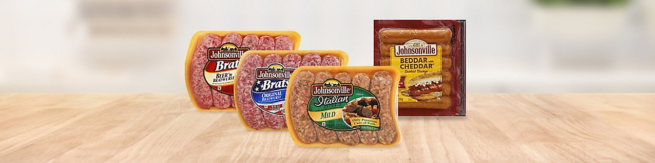 image of assorted Johnsonville brats and sausages.