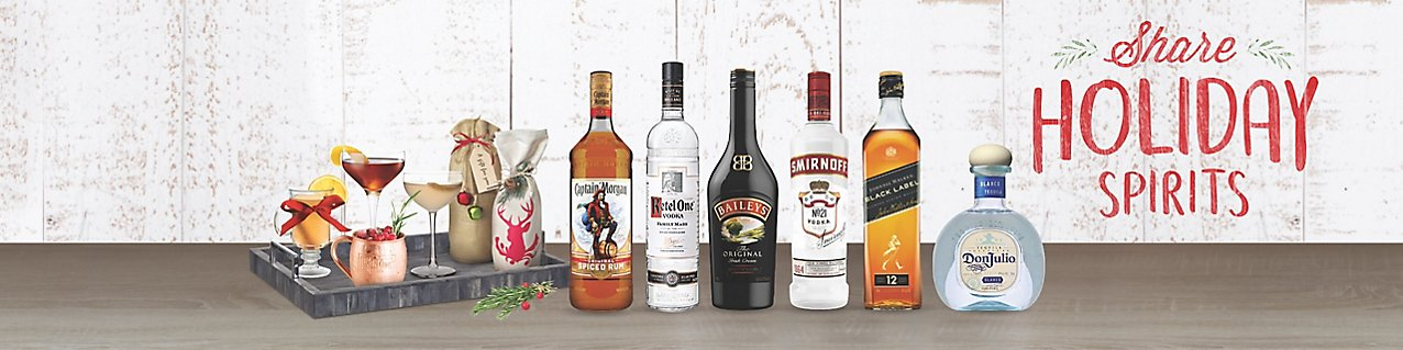 share holiday spirits, diageo product montage