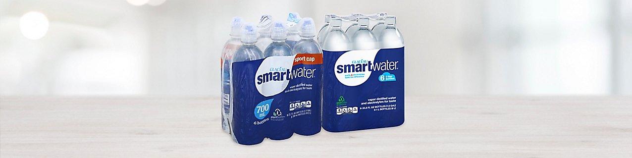 Participating products, smartwater Vapor Distilled Water 6 pack, smartwater Vapor Distilled Water Sports Cap Bottle 6 pack.