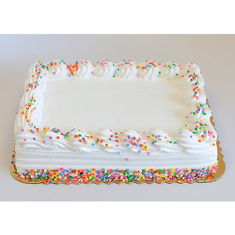 Bakery Cake 1/4 Sheet White White Iced Decorated - Each