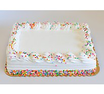 White Iced Decorated Cake 1/4 Sheet - Each
