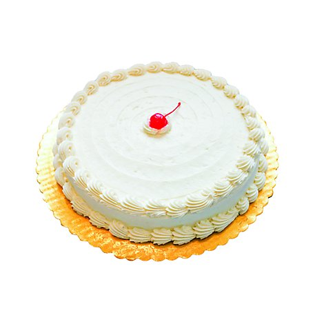 Bakery Cake White 8 Inch 1 Layer Poured - Each