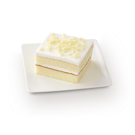 Bakery Cake White Slice White Iced - Each (950 Cal)