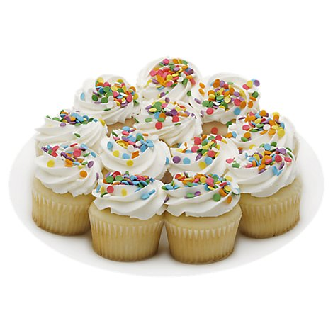 Bakery Cupcake White White Iced 12 Count - Each