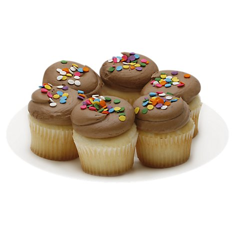 Bakery Cupcake Cake White Chocolate Iced 6 Count - Each