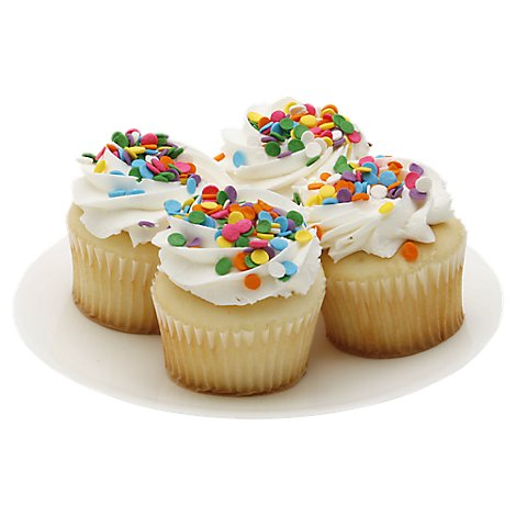 Bakery Cupcake White White Iced 4 Count - Each