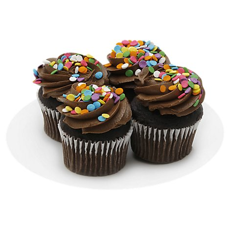 Bakery Cupcake Chocolate Chocolate Iced 4 Count - Each