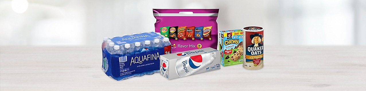 Participating products, Aquafina Water 24-pack, Frito Lays Snack Variety Pack, Diet Pepsi 12-pack, Quaker Chewy Granola Bars,