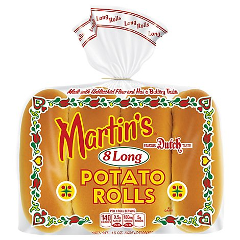 Martins Rolls Potato Long 8 Count - 15 Oz