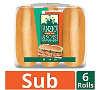 Anzio & Sons Rolls Sub Enriched 6 Count - 15 Oz