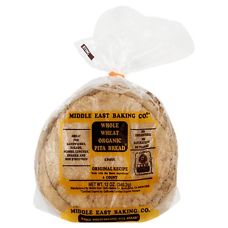 Middle East Baking Whole Wheat Organic Pita Bread - 12 Oz