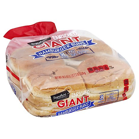 Signature SELECT Buns Hamburger Enriched Giant 8 Count - 18.5 Oz