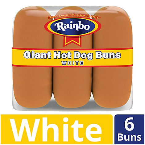 Rainbo Buns Hot Dog Giant White 6 Count - 12 Oz
