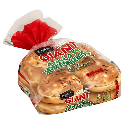 Signature SELECT Buns Hamburger Enriched Giant Onion 8 Count - 18.5 Oz