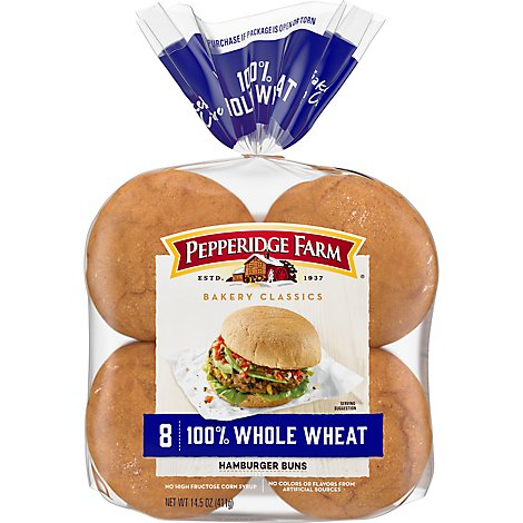 Pepperidge Farm Bakery Classics Buns Hamburger Whole Wheat - 8 Count