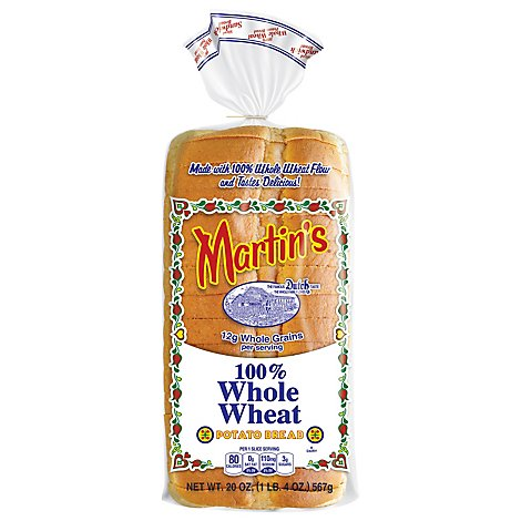 Martins Bread Potato Whole Wheat Pre-Sliced - 20 Oz