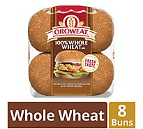 Oroweat Sandwich Buns 100% Whole Wheat 8 Count - 21 Oz