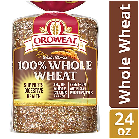 Oroweat Bread Whole Grains 100% Whole Wheat - 24 Oz