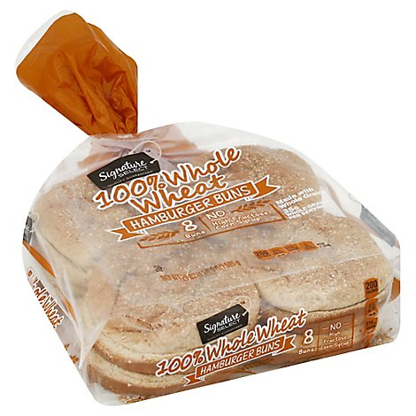 Signature SELECT Buns Hamburger Whole Wheat 8 Count - 21 Oz
