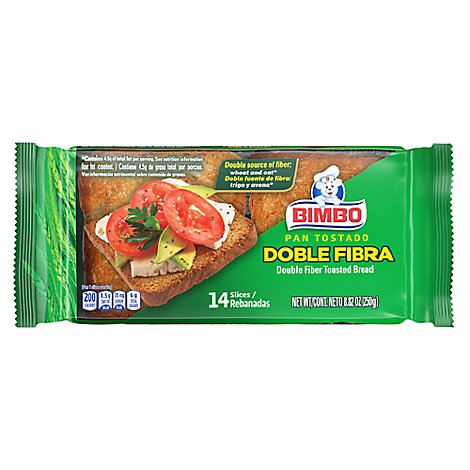 Bimbo Double Fiber Toasted Bread - 8.82 Oz