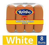 Rainbo Hot Dog Buns White 8 Count - 12 Oz