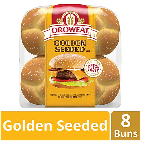 Oroweat Rolls Hamburger Golden Seeded 8 Count - 21 Oz