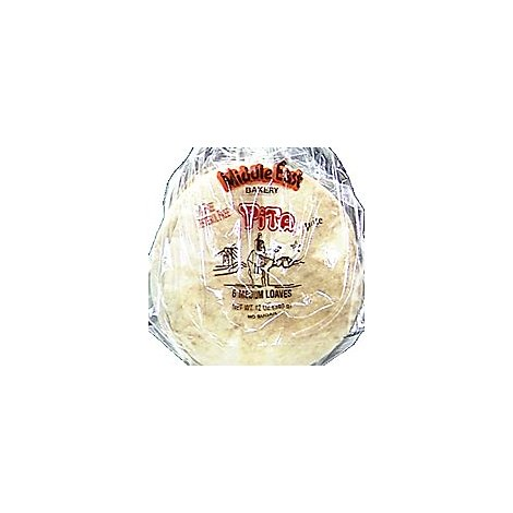 Middle Eastern Medium White Pita Bread - 12 Oz