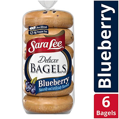Sara Lee Bagels Deluxe Pre-Sliced Blueberry - 6-22 Oz