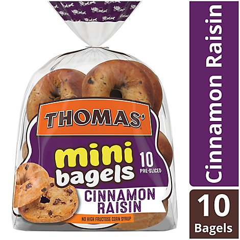 Thomas Bagels Mini Cinnamon Raisin Pre Sliced 10 Count - 15 Oz