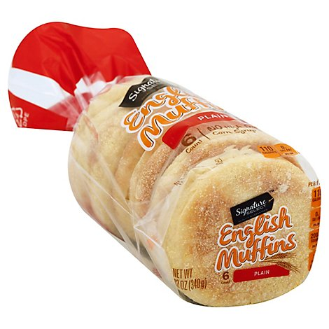 Signature SELECT English Muffins Plain 6 Count - 12 Oz