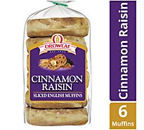 Oroweat English Muffins Cinnamon Raisin Sliced 6 Count - 14 Oz
