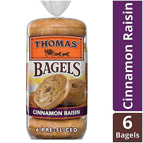 Thomas Bagels Cinnamon Raisin Pre Sliced 6 Count - 20 Oz