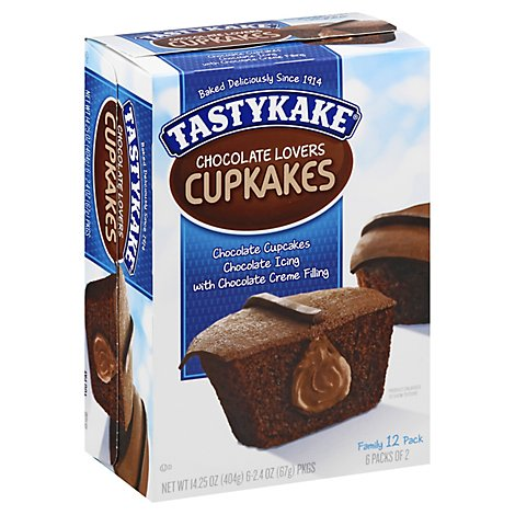 Tastykake Chocolate Lovers Cream Filled Chocolate Cupcakes - 14.25Oz