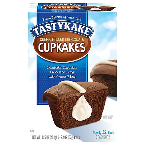 Tastykake Cup Cakes Cream Filled Chocolate - 13.5 Oz