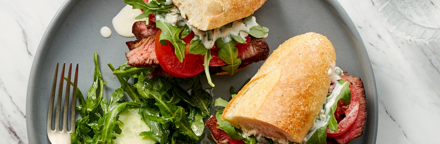 Balsamic Steak Sandwiches with Creamy Horseradish