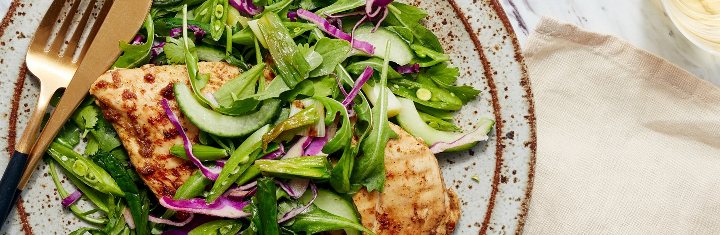 Curry-Grilled Chicken with Arugula Salad
