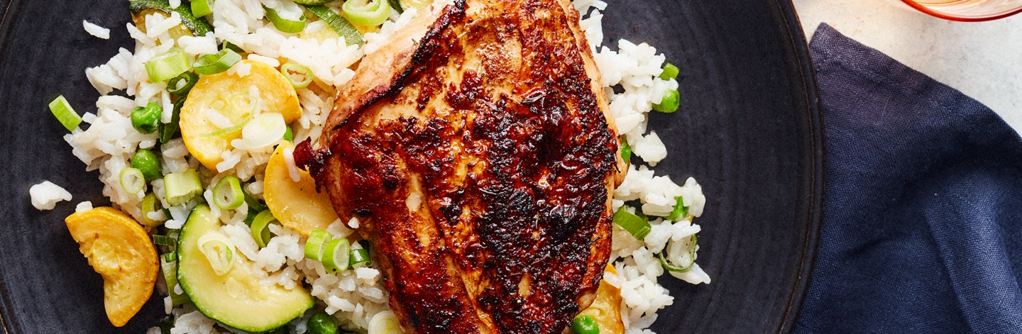 Jerk Chicken with Coconut Rice and Summer Vegetables