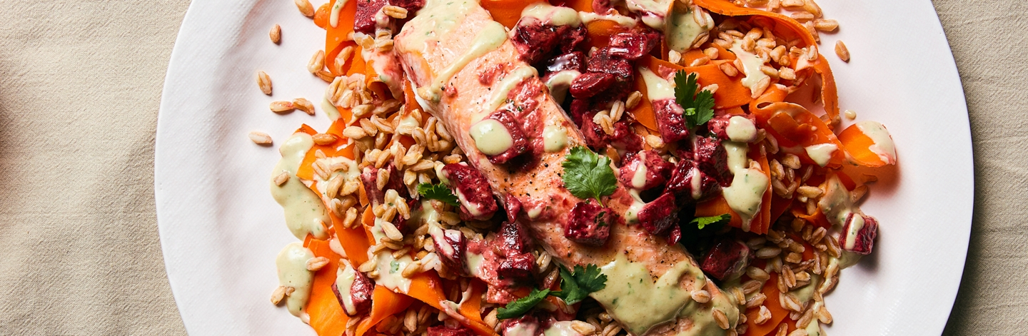 Roasted Salmon with Beets, Farro, and Cilantro-Tahini Dressing - Recipe by Plated