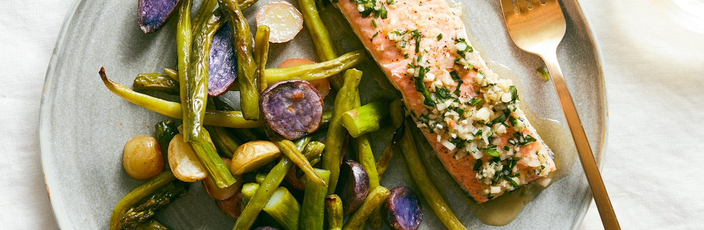 Salmon en Papillote with Spring Vegetables and Garlic-Herb Butter