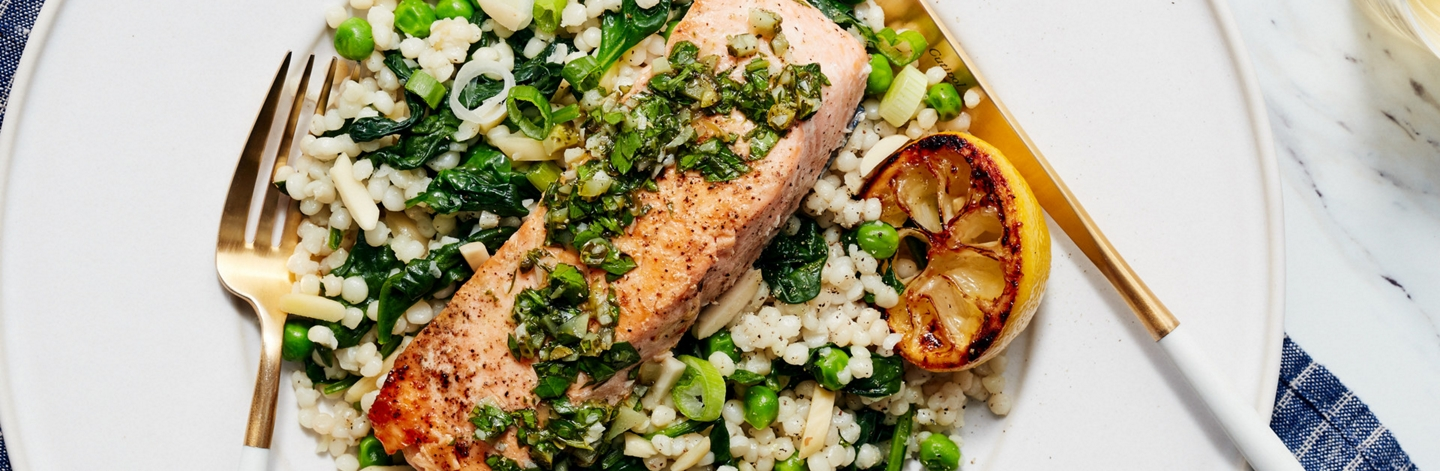Salmon with Salsa Verde and Israeli Couscous
