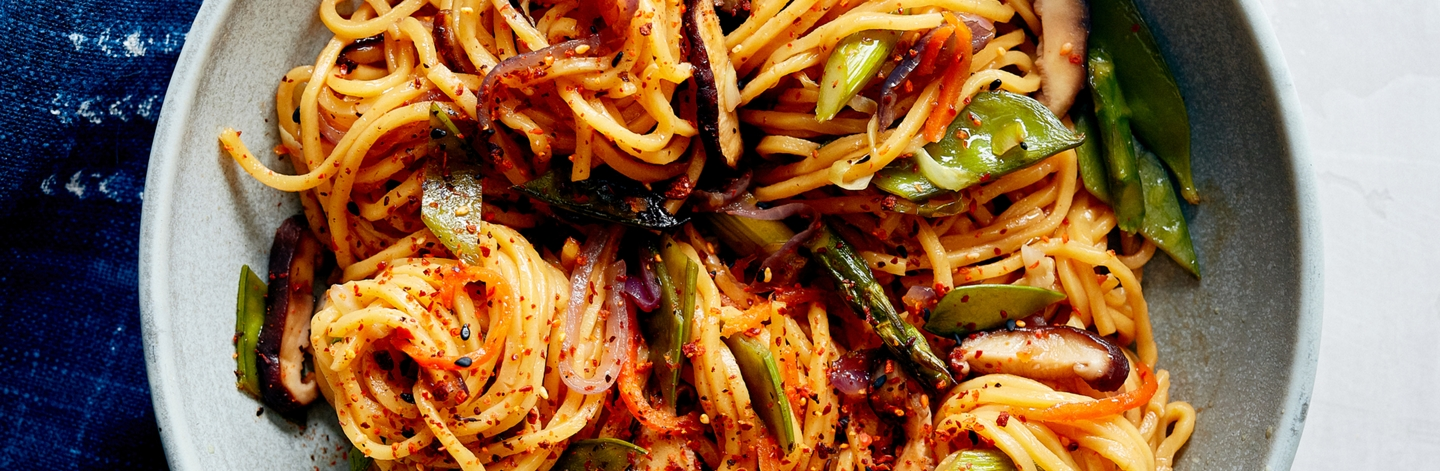 Spring Vegetable Yakisoba with Long Life Noodles