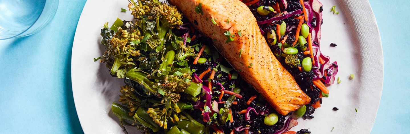 Thai Chili–Glazed Salmon with Black Rice and Chinese Broccoli