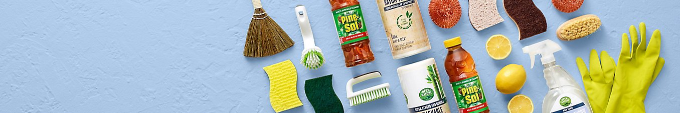 montage of cleaning and sanitizing products