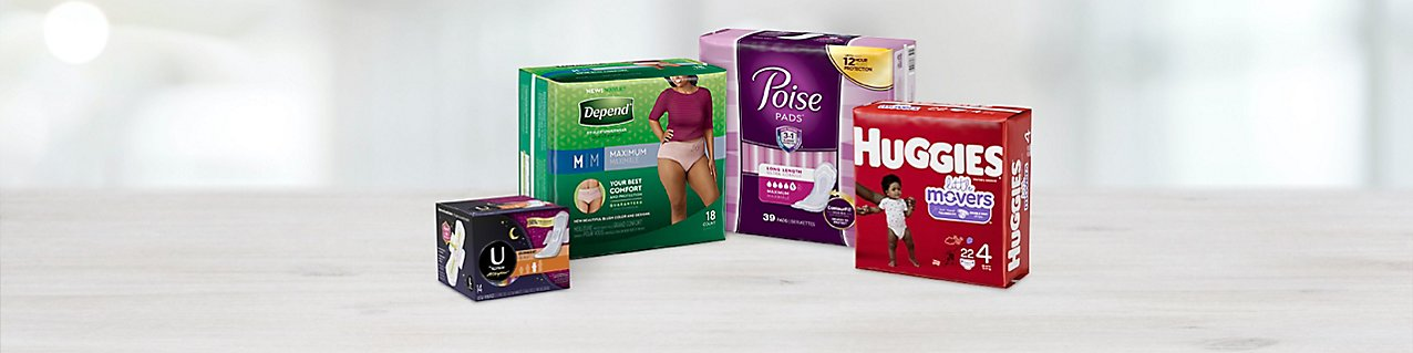 Participating items: U by Kotex All Nighter Pads Ultra Thin Overnight, Depend Maximum Absorbency for Women, Huggies Little Mo