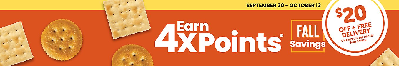 Earn 4X points on your purchase of $10 or more of Fall Savings items