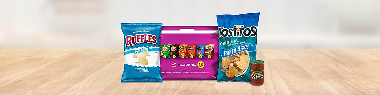Choose from select snack items like Ruffles Original Potato Chips, Frito-Lay Flavor Mix Variety Pack, Tostitos Original Resta