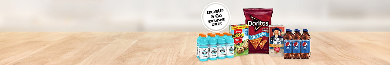 A DriveUp & Go exclusive offer. Choose from a wide variety of Pepsico products.